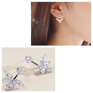 🍒3/$30 New Silver Marquise Jacket Earrings